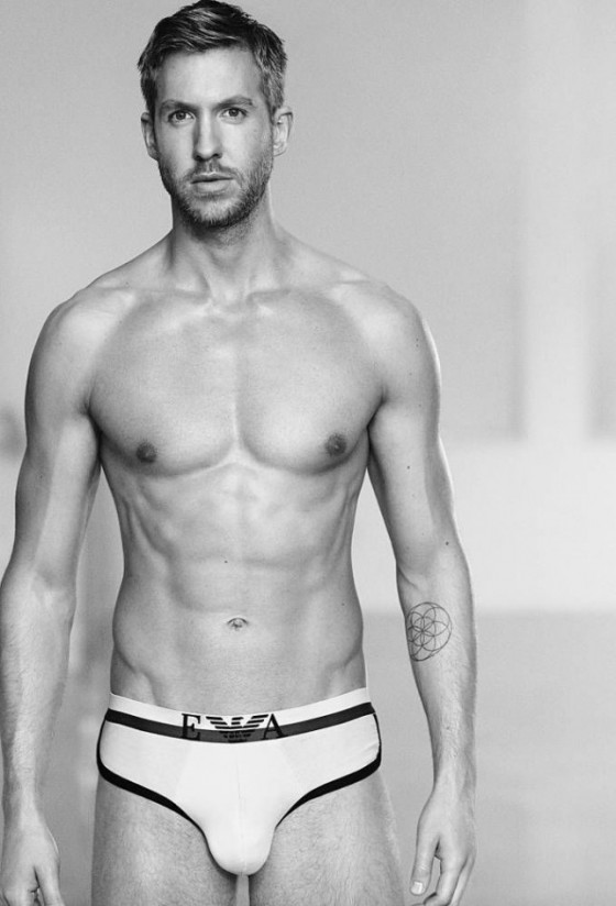 Rocking a pair of white Armani briefs - it's very, very doubtful that this physique sees any Irn Bru or Steak Bakes these days!