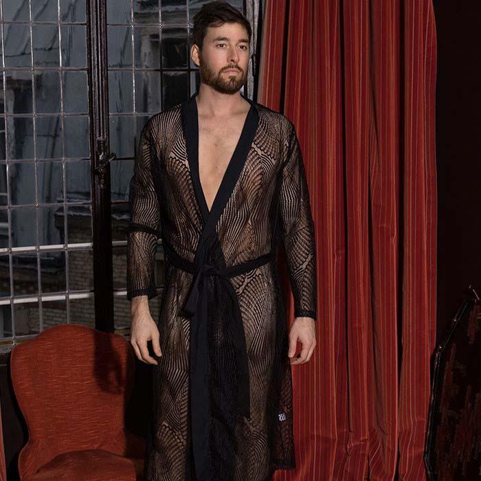 sexy men's lace kimono