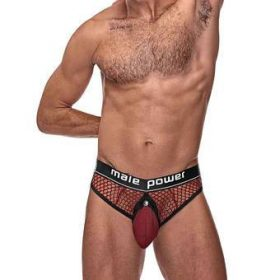 Male Power Red Cock Pit Mesh Thong