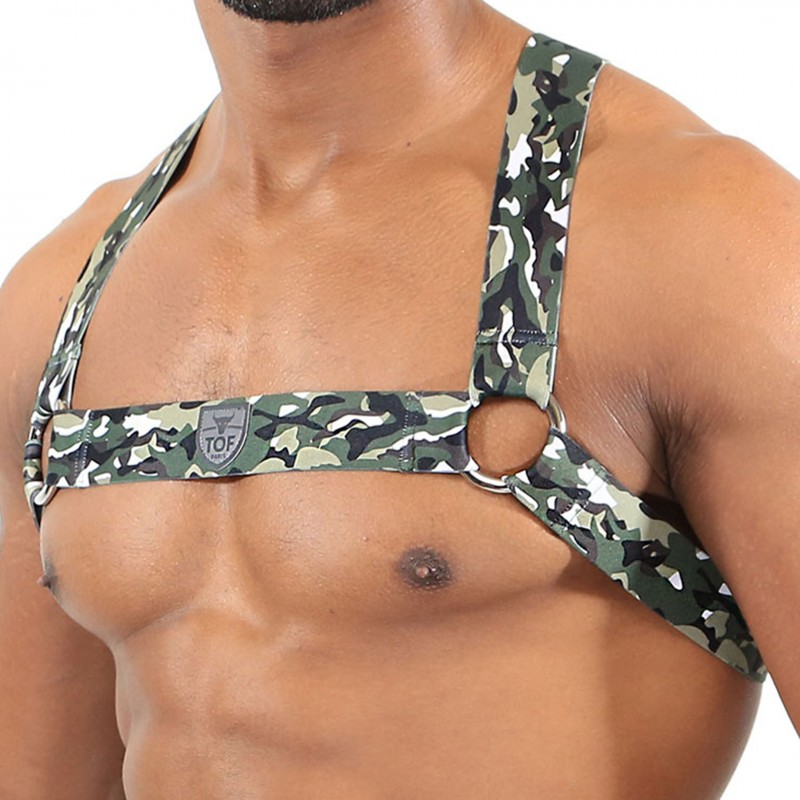 gay harness - green elasticated camo fabric with TOF Paris logo in centre