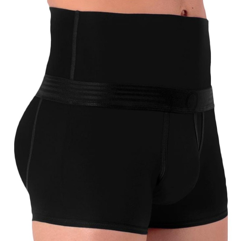 black men's slimming boxer shorts with high elasticated waist
