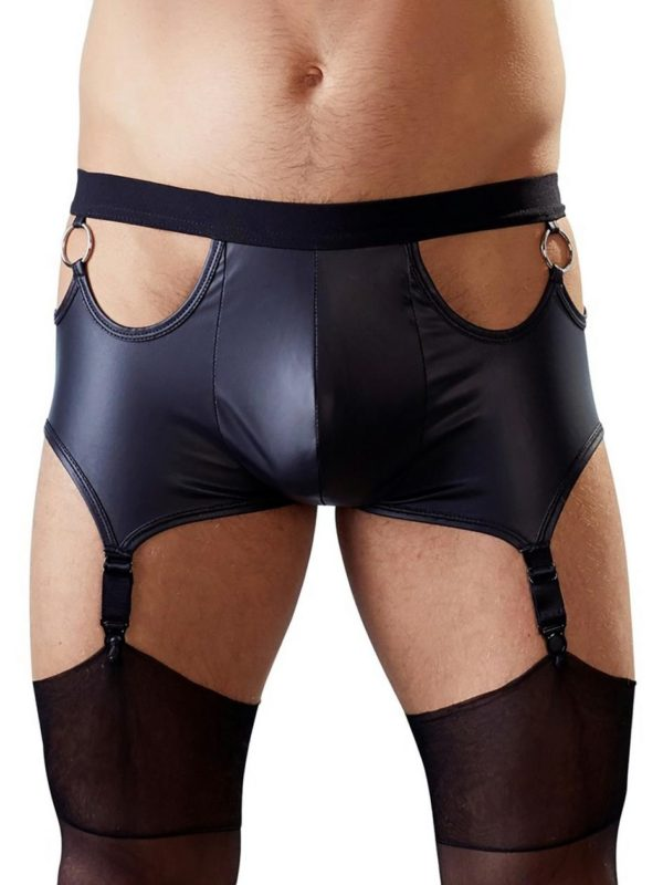 men's wet look boxer shorts with attached suspenders